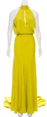 Juan Carlos Obando Silk Cutout-Accented Dress