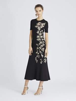 Oscar de la Renta Metallic Floral Knit Dress