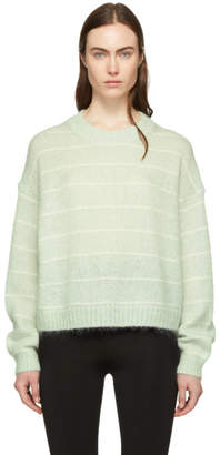 Acne Studios Green and Off-White Striped Kassidy Sweater