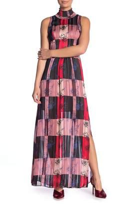 BCBGeneration Smocked Mock Neck Sleeveless Print Dress