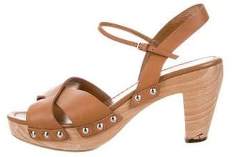 Miu Miu Leather Ankle Strap Sandals