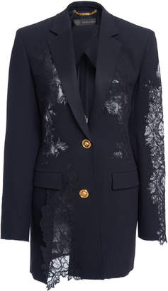 Versace Asymmetric Lace-Paneled Blazer