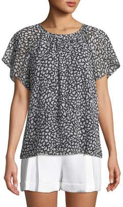 Club Monaco Danicah Printed Flutter-Sleeve Top