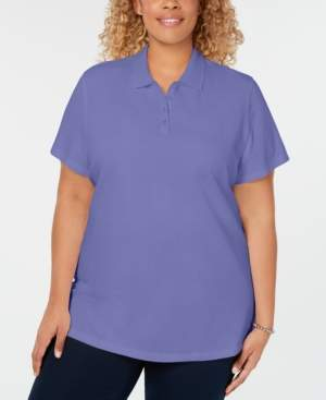 Karen Scott Plus Size Cotton Polo Top, Created for Macy's
