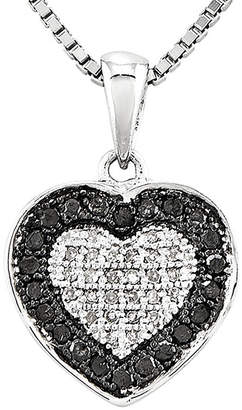 Black Diamond FINE JEWELRY 1/3 CT. T.W. White and Color-Enhanced Heart Pendant Necklace