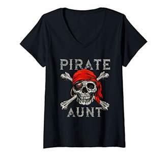 Womens Pirate Aunt Shirt Jolly Roger Skull & Crossbones Flag V-Neck T-Shirt