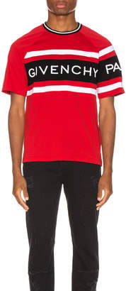 Givenchy Slim Fit Logo Band Tee in Red & Black | FWRD