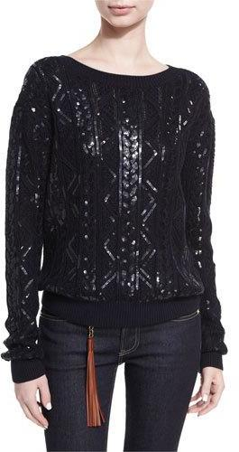 Ralph Lauren Collection Sequined Cable-Knit Silk-Nylon Sweater