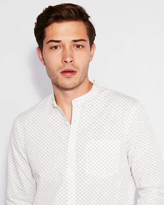 Express Slim Polka Dot Band Collar Shirt