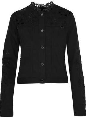 Elie Tahari Meggy Guipure Lace-Paneled Embellished Denim Jacket