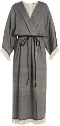 Fringed wool-blend wrap dress Adam Lippes dZciW66