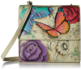 Anuschka Anna by Women's Genuine Leather Small Flap-Over Slim Cross Body | Hand Painted Original Artwork |
