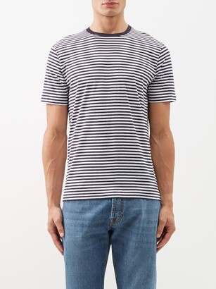 Sunspel Striped Cotton Jersey T Shirt - Mens - Blue Stripe