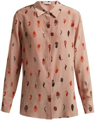 Altuzarra Chika peacock feather-print silk blouse