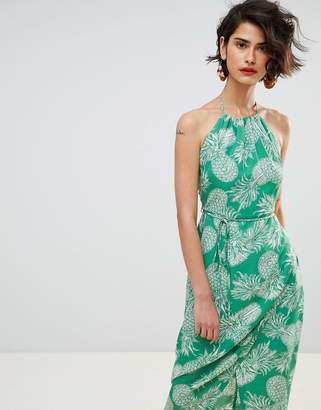 Warehouse Pineapple Halter Dress