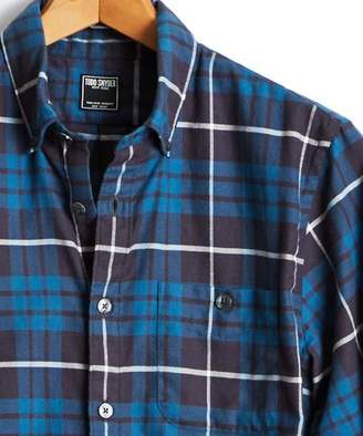 Todd Snyder Button Down Flannel Shirt in Dark Teal Plaid