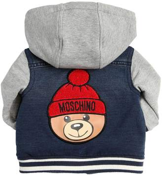 5e0438a25 Moschino Hooded Cotton Denim & Sweatshirt Jacket