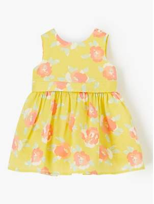 62cfb6b8af John Lewis & Partners Baby Floral Bow Back Dress, Yellow