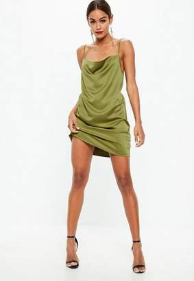 Missguided Khaki Satin Crepe Back Strappy Cowl Shift Dress