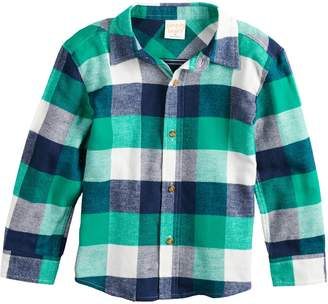 Baby Essentials Baby Boy Jumping Beans Plaid Flannel Button Down Shirt
