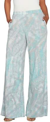 Halston H By H by Reg Full Length Printed Wide Leg Pants