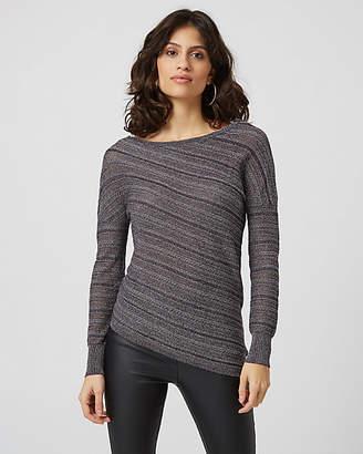 Le Château Metallic Knit Asymmetrical Hem Sweater