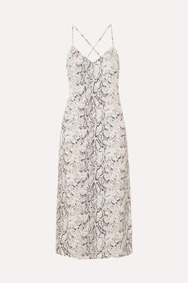 Reformation Kat Open-back Snake-print Crepe De Chine Midi Dress - Ecru