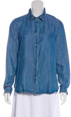 L'Agence Denim Long Sleeve Button-Up Top