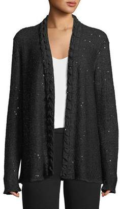 Emporio Armani Open-Front Sequin Knit Cardigan w/ Silk Georgette Trim