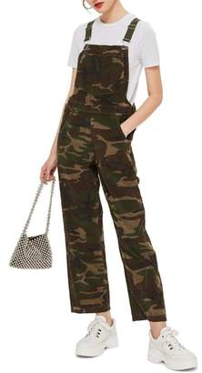 Topshop Camouflage Corduroy Overalls