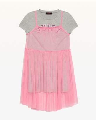 Juicy Couture Mesh Overlay T-Shirt Dress for Girls