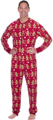 Munki Munki Men's Gingerbread Thermal Onesie PJ
