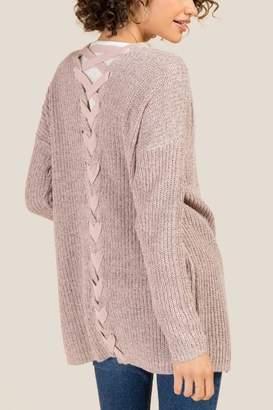 francesca's Fifer Braided Back Cardigan - Blush