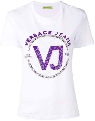 Versace rhinestone logo print T-shirt