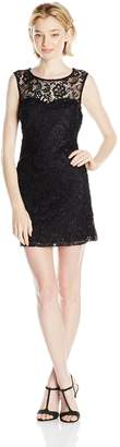 As U Wish Junior's Lace Illusion Short Shift Dress