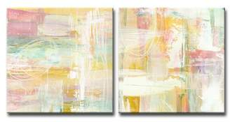 Brayden Studio 'Honey Peach Floral' Acrylic Painting Print Multi-Piece Image on Canvas