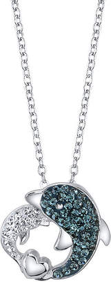 CRYSTAL SOPHISTICATION Crystal Sophistication Blue and White Crystal Dolphin Pendant Necklace