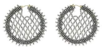 Oscar de la Renta Beaded Lattice Disc Hoop Earrings