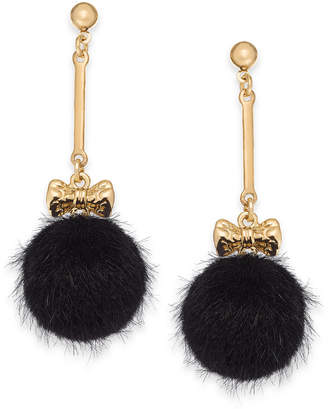 INC International Concepts I.n.c. Gold-Tone Bow & Faux Fur Ball Drop Earrings, Created for Macy's