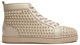 Christian Louboutin - Louis Spike Embellished High Top Trainers - Mens - Cream