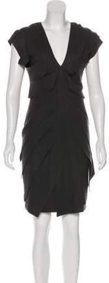 Fendi Wool Plunging Neckline Dress Grey Wool Plunging Neckline Dress