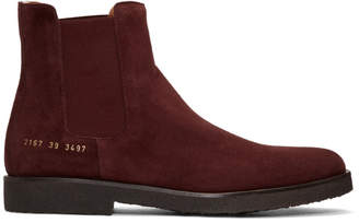 Common Projects Burgundy Suede Chelsea Boots