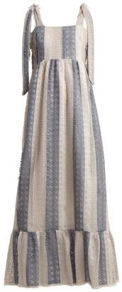 Athena Procopiou - Tie Shoulder Lace Dress - Womens - Blue Multi