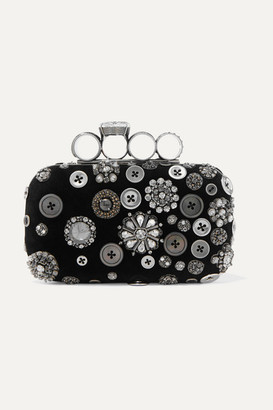 Alexander McQueen Four-ring Embellished Suede Clutch - Black
