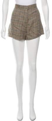Hache Linen Plaid Shorts