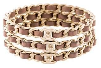 Chanel Leather Turn-Lock CC Bangle Set Gold Leather Turn-Lock CC Bangle Set