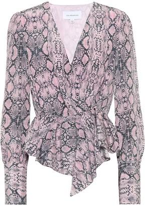 Les Rêveries Snake-print silk blouse