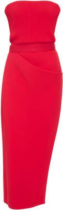 Brandon Maxwell Strapless Ribbed Bodice Side Draped Dress