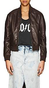 William Rast WOMEN'S LEATHER BOMBER JACKET-BROWN SIZE L