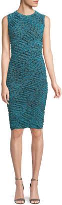 Diane von Furstenberg Sleeveless Ruched Mesh Dress